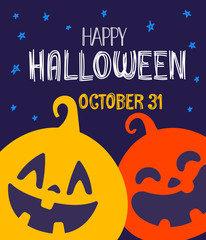 Happy Halloween greeting card. Vector illustration