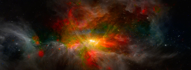 Landscape background of fantasy alien galaxy with glowing clouds and stars. The elements of this image furnished by NASA.