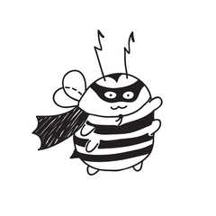 Cute little Bumblebee ink hand drawn sketch vector illustration. Bumblebee super hero. Bee icon. Print art sketch bees. Bee sign isolated on white background illustration