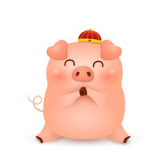 Cute cartoon Little Pig character design with traditional Chinese red hat greeting isolated on white background.