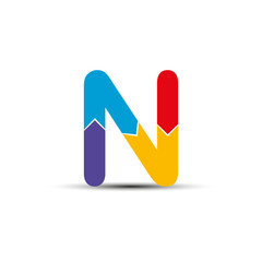 letter N is made up of four colored arrows