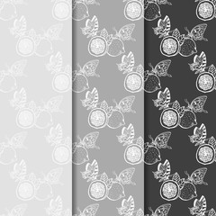 lemon tropical fruits butterfly seamless pattern