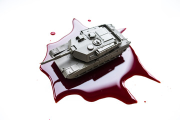 Blood stain and tank. Bloody war.