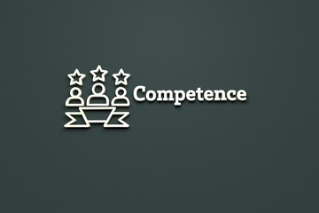 Illustration of Competence with light text on grey background