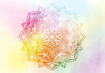 Abstract mandala graphic design and watercolor digital art painting for ancient geometric concept...
