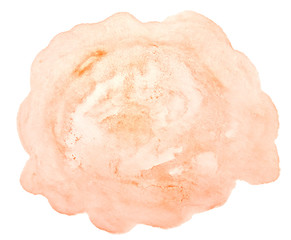 Light orange watercolor hand-drawn isolated wash stain on white background for text, design. Abstract texture made by brush for wallpaper, label.