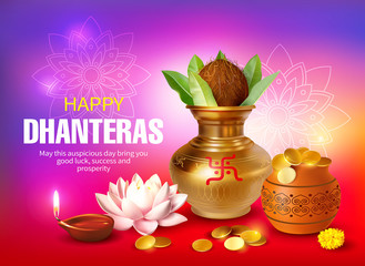 Greeting background with kalash, diya and gold coins for Indian festival Dhanteras (Diwali season). Vector illustration.