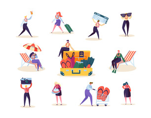 Characters Collection Man and Woman Preparing for Tropical Trip. Happy People Planning Beach Vacation Summer Journey. Vector illustration