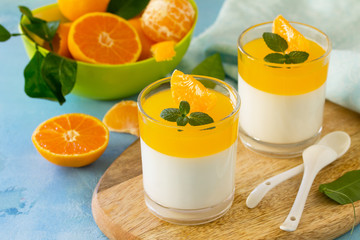 Panna cotta with tangerines jelly and mint, Italian dessert, homemade cuisine.