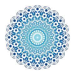 Mandala in blue tones. Vector openwork delicate drawing. Spiritual symbol and background.