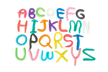 plasticine. clay. alphabet. text. color ful. child make. isolated on white background