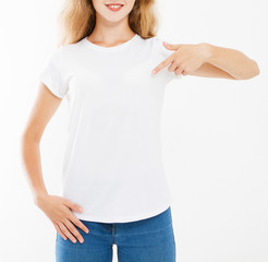 cropped portrait sexy woman in white tshirt isolated on white background, mock up for desigh