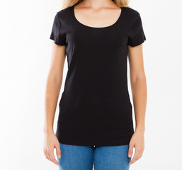 cropped portrait woman in black tshirt isolated on white background. Mock up for design. Copy space. Template. Blank