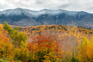 A beautiful fall landscape with amazing foliage. Picture taken in the White Mountains of New Hampshire.