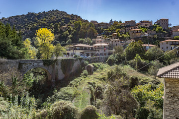Dimitsana village, a popular winter destination in mountainous Arcadia in Peloponnese, Greece