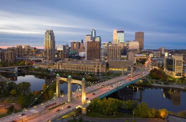 Minneapolis Skyline & Hennepin Bridge at Sunrise