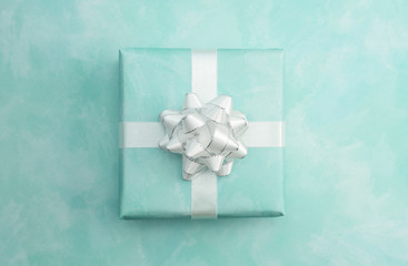 Single Simple Wrapped Present on a Matching Background