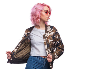 Modern millennial model with pink hairstyle