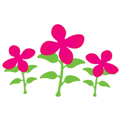 Cartoon pink flowers in a row. Vector illustration.