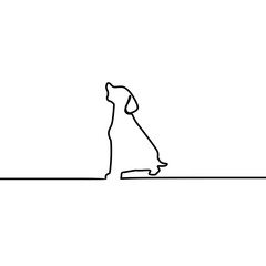 Dog sitting vector continuous one line art drawing isolated on white background.