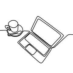 Coffee and laptop on the table vector. Continuous single one line drawing illustration isolated on white background.