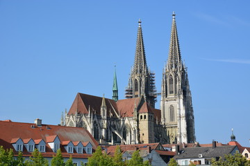 View in the historical town of Regensburg,  Germany,  Bavaria