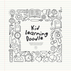 Set of hand drawn kid learning doodles  : Vector Illustration