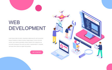 Modern flat design isometric concept of Web Development for banner and website. Isometric landing page template. Developer coding software and programming web site. Vector illustration.