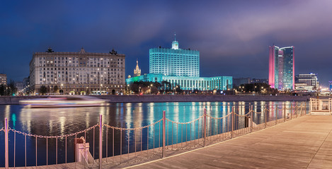 Moscow - October 21, 2018. View from the berth to Krasnopresnenskaya Embankment. Government House of the Russian Federation (White House) and the Moscow Government Building