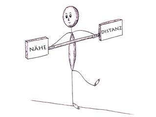 Balance zwischen Nähe und Distanz, Strichmännchen als Seiltänzer