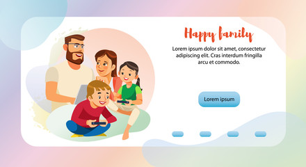 Happy Family Leisure Web Banner Vector Template