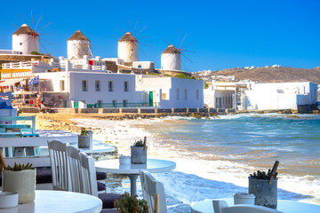 Traditional greek windmills on Mykonos island, Cyclades, Greece