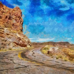 Hand drawing watercolor art on canvas. Artistic big print. Original modern painting. Acrylic dry brush background. Beautiful summer mountain landscape. Asphalt road to the hill. Active travel.