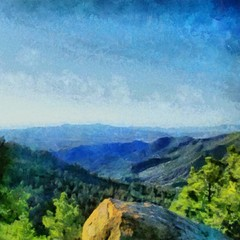 Hand drawing watercolor art on canvas. Artistic big print. Original modern painting. Acrylic dry brush background. Vintage mountain landscape. Active travel. Tourism location. Summer resort. Blue sky