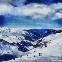 Hand drawing watercolor art on canvas. Artistic big print. Original modern painting. Acrylic dry brush background. Vintage mountain snow landscape. Active travel. Tourism location. Skiing resort