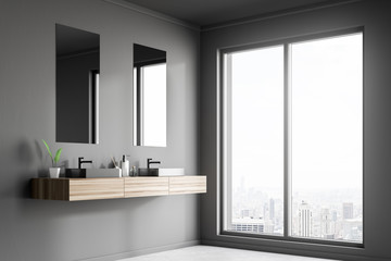 Double sink in gray loft bathroom