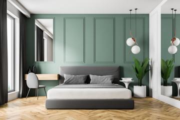 Fototapeta Green wall bedroom interior obraz