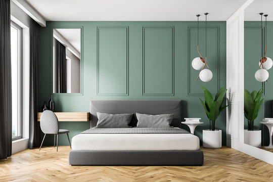 Green wall bedroom interior