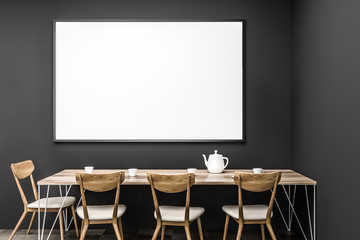Gray dining room table, poster