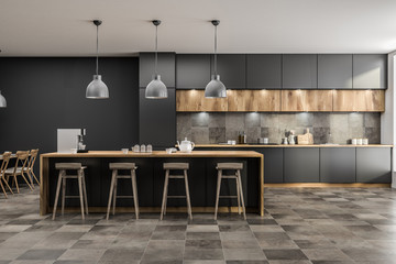 Gray kitchen with bar