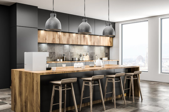 Loft kitchen corner with bar
