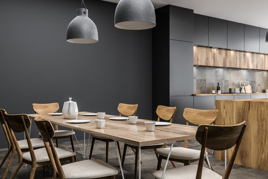 Gray dining room table in kitchen