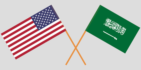 Kingdom of Saudi Arabia and United States of America. The KSA and USA flags. Official proportion. Correct colors. Vector