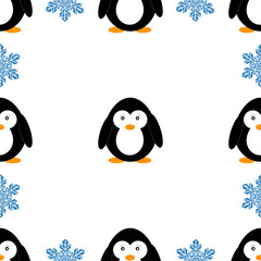 Seamless pattern with penguins and snowflakes. Cute penguin cartoon vector illustration. Winter animals pattern.