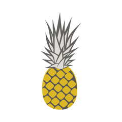 Pineapple isolated on white background. Cartoon pineapple. Vector illustration.