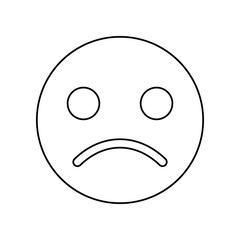 emoji sad face icon. Simple outline vector of web, minimalistic set for UI and UX, website or mobile application