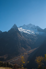 Autumn mountains of the Caucasus in the village of Dombai