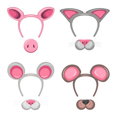 set of animal masks with head hoops. a collection of ears and nose of a bear, a mouse, a pig and a cat