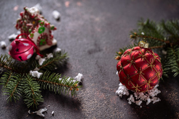 Christmas composition on dark vintage background.