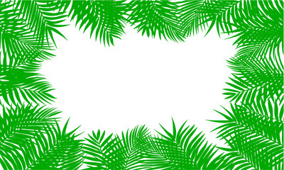Fern leaf background. Green square frame on tropical leaves, fern plant – stock vector